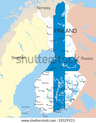 Abstract vector color map of Finland country coloured by national flag