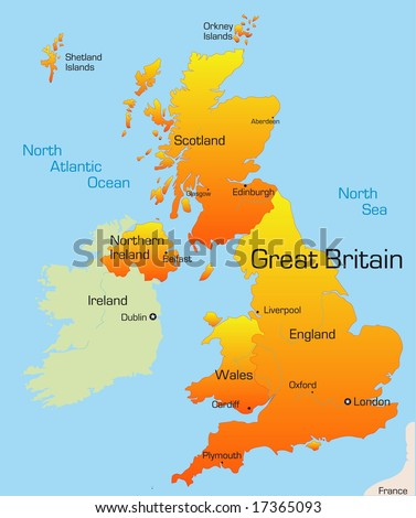 Abstract vector color map of Great Britain country