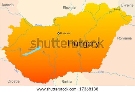Abstract vector color map of Hungary country
