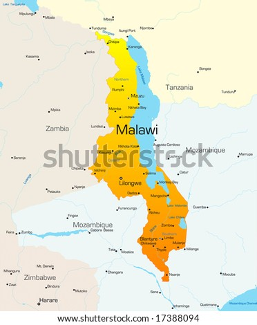 Abstract vector color map of Malawi country - stock vector