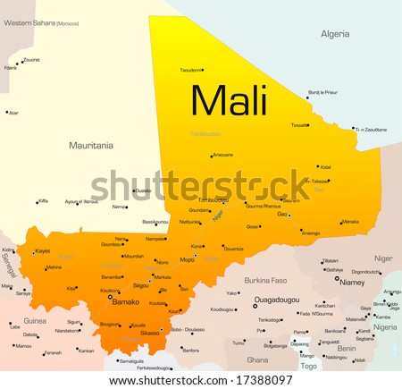 Abstract vector color map of Mali country