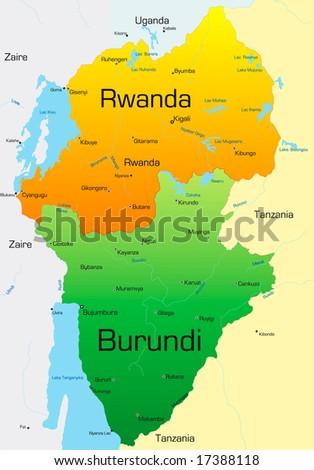 Abstract vector color map of Rwanda and Burundi country