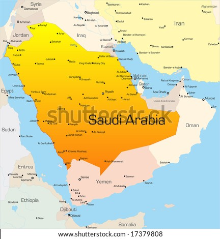 Abstract vector color map of Saudi Arabia country