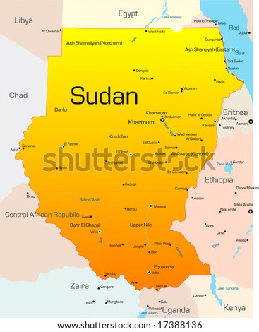 Abstract vector color map of Sudan country
