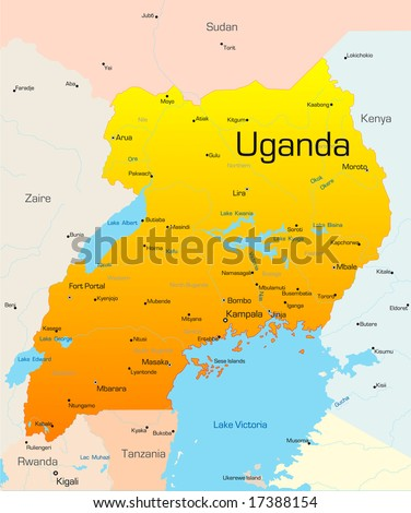 Abstract vector color map of Uganda country