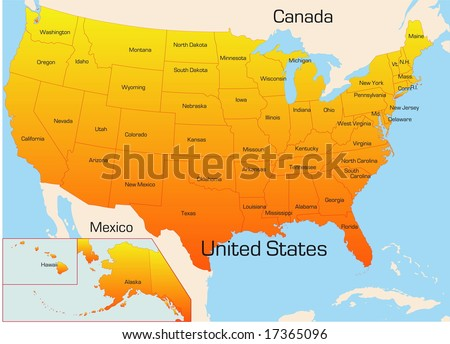 Abstract vector color map of USA country