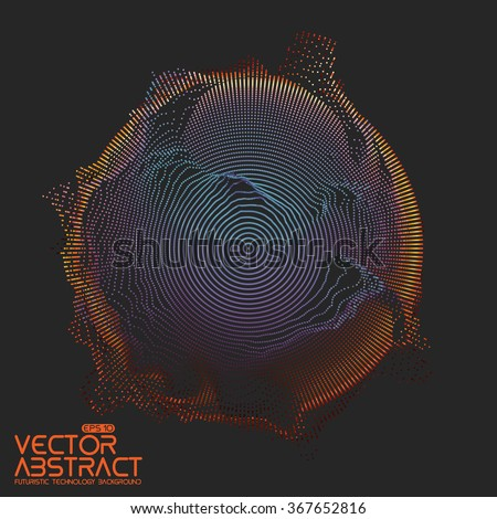 Abstract vector colorful mesh on dark background. Futuristic style card. Elegant background for business presentations.  Corrupted point sphere.  Chaos aesthetics.