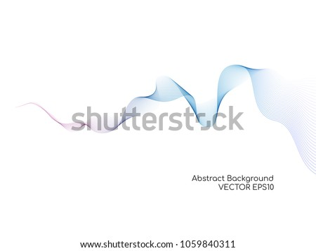 Abstract vector colorful wave lines isolated on white background for design elements in technology, modern