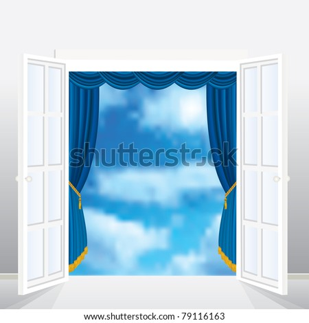 abstract vector composition with french window and curtain