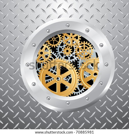 abstract vector composition with silver and golden gears