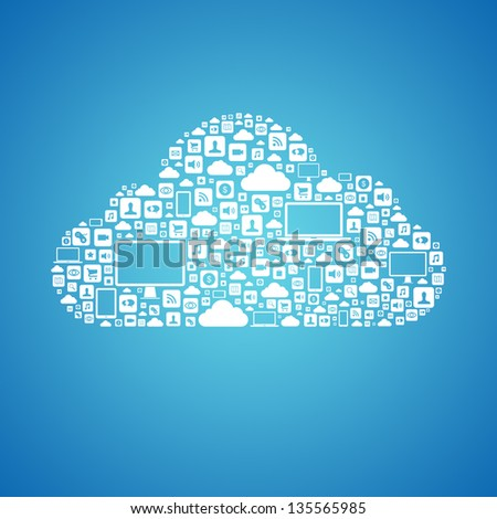 Abstract vector concept of cloud computing with many graphic icons which form a cloud shape. Isolated on blue background