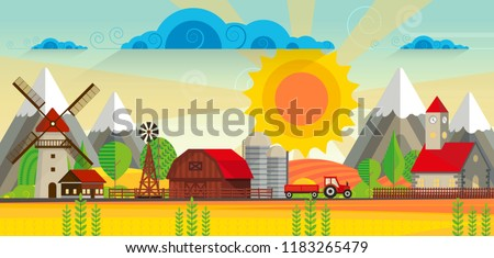 Stock Photo Abstract vector countryside rural landscape, farm with wooden barn and windmill. Can be use wallpaper or other background.