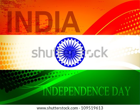 Abstract vector creative Indian flag color background with wave and halftone for Independence Day, Republic Day occasion.