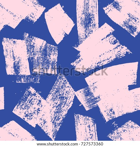 Abstract vector creative seamless pattern with brush strokes. Colorful background for printing brochure, poster, card, print, textile,magazines, sport wear. Modern trendy design. Pink and blue colors.