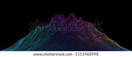Abstract vector cyberspace background. Mountain landscape grid illustration. 3d technology wireframe vector. Digital mesh for banners