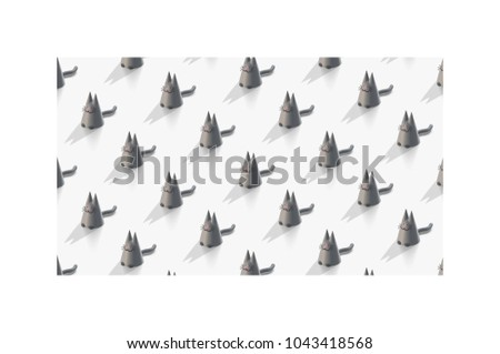 Stock Photo Abstract vector 3D rendering of cute stylized cats. Computer generated minimalistic pattern from cats. Orthographic, modern design background for poster, cover, banner, placard, fabric.