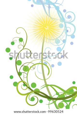 abstract vector dandelion isolated on white illustration