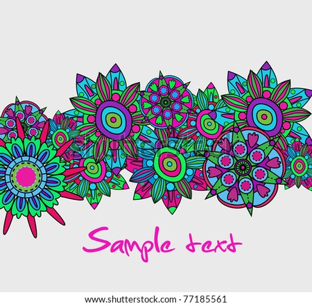 Abstract vector dark background with multicolor floral pattern