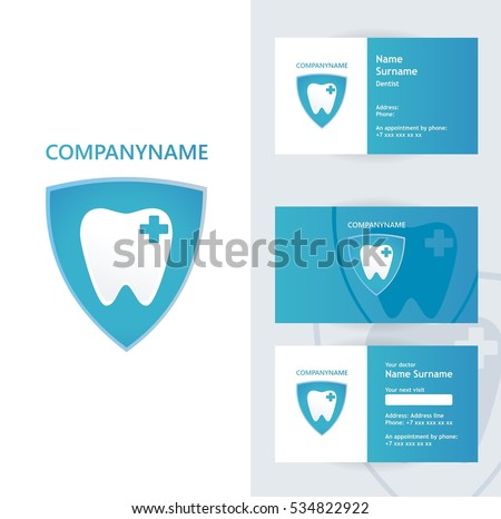 Abstract vector dental identity concept visiting card and appointment schedule on back side. Logotype template for branding and corporate business card design blue color composition