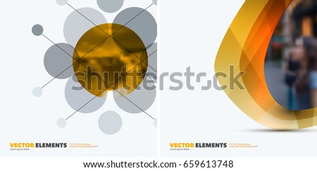 Abstract vector design elements for graphic layout. Modern business background template with yellow rounds, circles, dots  for tech, pharmacy, health, ecology.