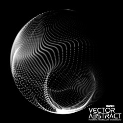 Abstract vector destroyed mesh spheres. Sphere breaking apart into points. Futuristic technology style. Flying point debrises. Monochrome. Elegant background for business presentations. eps10