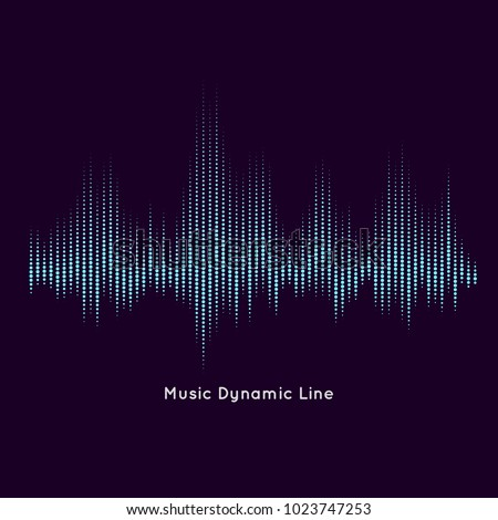 Abstract vector element for music design with equalizer. The dynamic line on a dark background