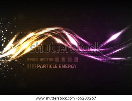 Abstract vector energy wave design on dark background, colored orange and violet. Contains energy particles and lines.