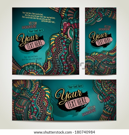 Abstract vector ethnic backgrounds set Series of image Template frame design for card Three different sizes for your design