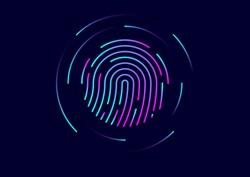 Abstract vector fingerprint icon / symbol