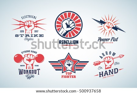 abstract vector fists logo set. ...