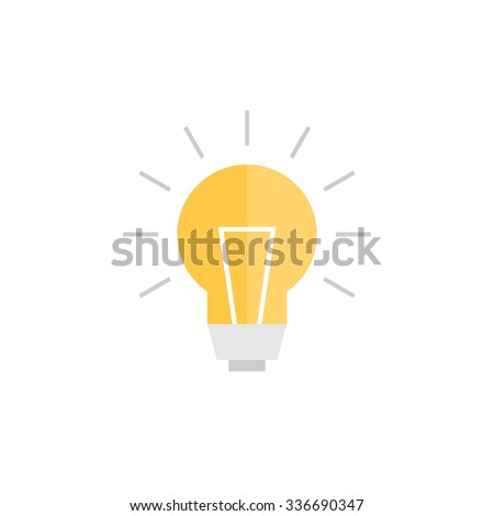 Abstract vector flat design lightbulb icon