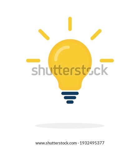 abstract vector flat design lightbulb with sparkle on violet backround lamp
