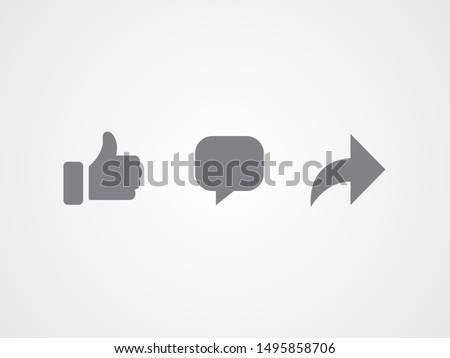 Abstract vector flat icons design. Like, comment and share icon set. Social network signs.