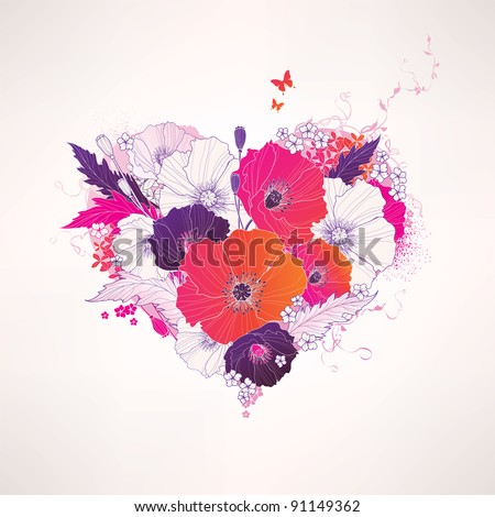 Abstract vector floral heart