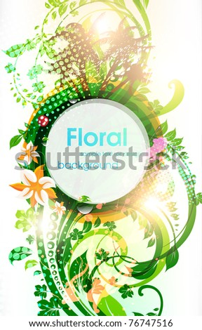 Abstract vector floral summer background with flowers, sun, palms and ladybird. eps 10.