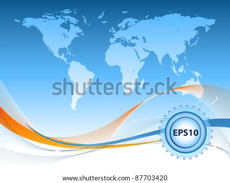 abstract vector frame with map and copy space. Eps10