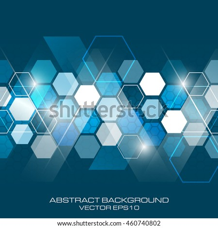 Abstract vector future business technology background with hexagonal pattern.