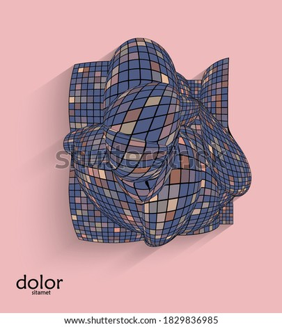 Abstract vector geometric shape with realistic shadow on flat colored background. 3D computer model  wire frame futuristic object. Grid distorted with multicolored pars. Technology data science icon. Photo stock ©