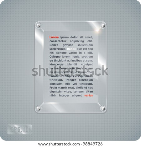 Abstract vector glass plane on halftone background. Eps10.3d. Other similar images of glass surfaces in the portfolio.