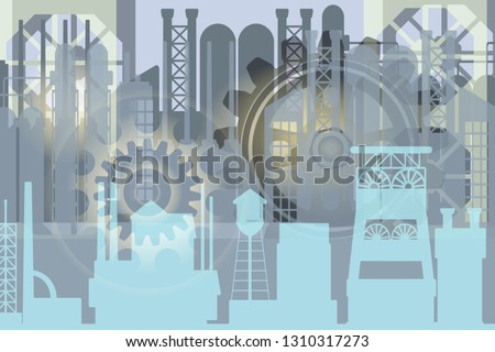 Abstract vector gray industrial background with factory silhouette and  fictional gear wheels illustrating heavy industry, metallurgy, mines, industrial revolution.