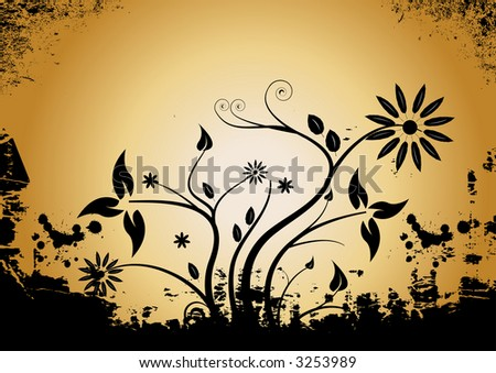 abstract vector grunge floral design - stock vector