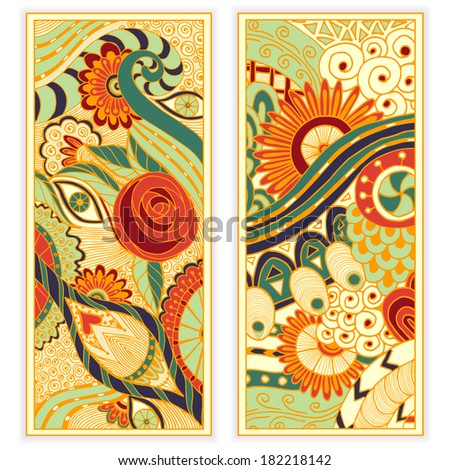 Abstract vector hand drawn ethnic pattern card set Series of image Template frame design for card