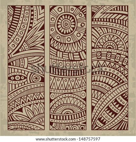 Abstract vector hand drawn vintage ethnic pattern card set Part 2