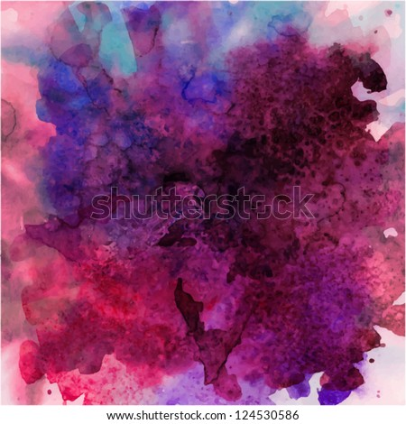Stock Photo abstract vector hand drawn watercolor background, stain watercolors colors wet on wet paper
