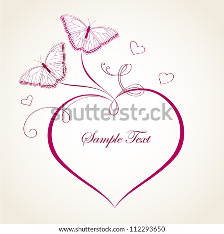 Abstract vector heart with butterfly. Element for design.