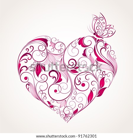 Abstract vector heart with butterfly. Element for design. - stock vector