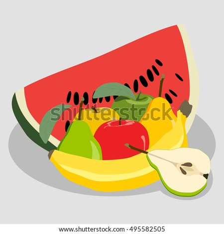 Abstract vector icon illustration logo for fruit still life of whole apple, slice watermelon, banana, pear. Pear pattern consisting of ripe sweet fruits. Still Life apples, watermelons, pears, bananas