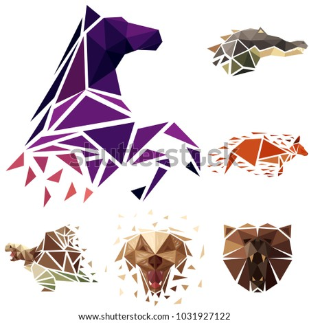 Abstract vector illustration. Animals set in low poly style. Polygonal animal