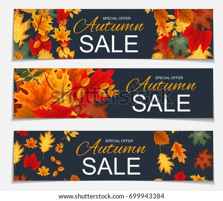 Abstract Vector Illustration Autumn Sale Banner Background with Falling Autumn Leaves