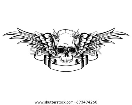 1166ffa2 Abstract vector illustration black and white horned skull demon with wings.  Design for tattoo or
